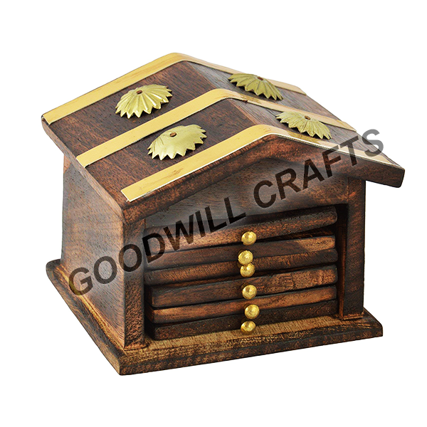 wooden hut coasters