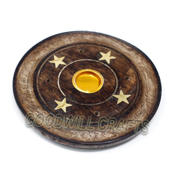 Goodwill Crafts Wooden Antique Star Brass Incense Plate Holder