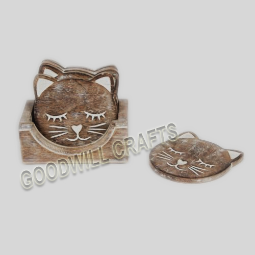 goodwill crafts wooden cat coaster with white wash