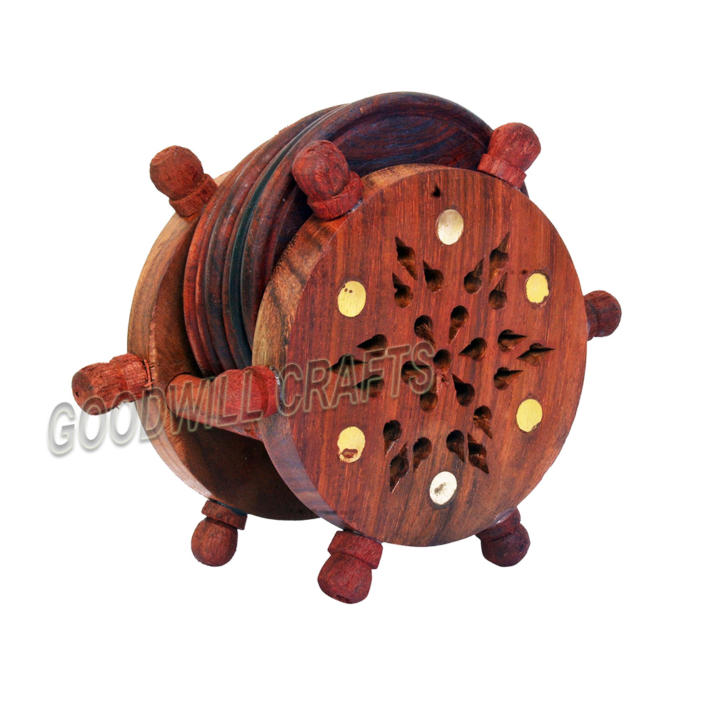 Goodwill Crafts Wheel Wooden Coaster Jali